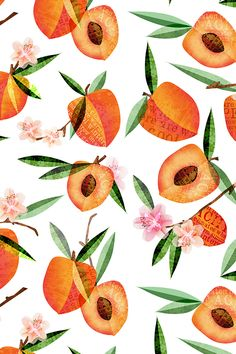 Simply peachy by mulberry_tree. Hand illustrated peaches with bright green leaves. A beautiful summer fruit pattern! Available in fabric, wallpaper, and gift wrap.