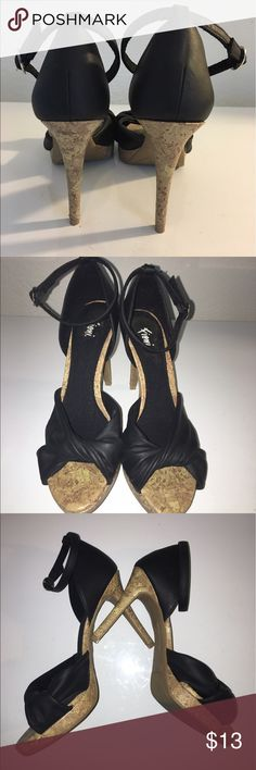 """Fioni Sandals Glamorous Fioni ankle-strap sandals with 4"""" cork heels and a bit of platform. In excellent condition. Signs of wear only on sole. Size 7 but runs small. fioni Shoes Heels"""