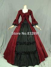 Steampunk Renaissance Victorian Sukienka Suknia Reenactment Kostium Długa Czerwona Suknia(China (Mainland))