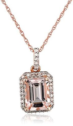"10k Rose Gold Morganite Center and Diamond (1/10cttw, I-J Color, I2-I3 Clarity) Pendant Necklace, 18"" Amazon Curated Collection http://www.amazon.com/dp/B00NW6VYFY/ref=cm_sw_r_pi_dp_qy3Sub18CRAET"