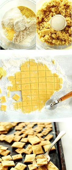 Vegan Cheez Its! So simple, salty and SUPER cheesy! Vegan Cheez Its! So simple, salty and SUPER cheesy! Vegan Appetizers, Vegan Desserts, Vegan Treats, Vegan Foods, Vegan Dishes, Aperitivos Vegan, Whole Food Recipes, Snack Recipes, Drink Recipes