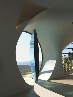 Here is another new futuristic free-shaped structure by Architect Ephraim-Henry Pavie, Biomorphic House. Hand made green house, soft and sensitive biomorphic architecture for a magical environment. The Biomorphic House is facing the Mediterranean Sea from its 1000-meters high, the panoramic bay windows have been shaped like amazing sunglasses overlooking the sea.