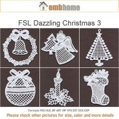 FSL Dazzling Christmas Ornament Free Standing Lace Machine Embroidery Designs Instant Download 4x4 hoop 10 designs APE1884