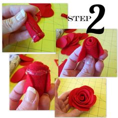 Layered roses made with felt circles Roses Are Red… | Positively Splendid {Crafts, Sewing, Recipes and Home Decor}