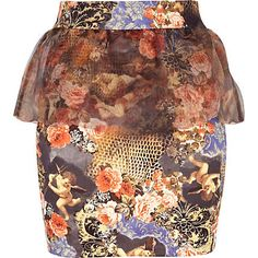 orange mix print organza peplum mini skirt - mini skirts - skirts - women - River Island