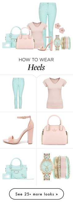 """Simple Look"" by malathik on Polyvore featuring Jessica Carlyle, George, Filippa K, Balenciaga, Kate Spade, Steve Madden and Forever 21"