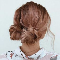 Two Messy Low Buns Updo # bun Hairstyles 60 Trendiest Updos for Medium Length Hair Up Dos For Medium Hair, Medium Hair Styles, Curly Hair Styles, Casual Updos For Medium Hair, Easy Hair Up Styles, Hair Styles With Buns, Hair Styles Casual, Medium Hair Updo, Hairstyle For Medium Length Hair