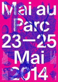 Mai au Parc, 23-25 mai 2014, Parc et Villa Bernasconi simpel design, prominent typo integrated in the abstract art, HOT