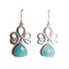 Silver Swirl and Mint Faceted Stone Earrings by IZZIEandOLIN