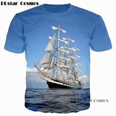 PLstar Cosmos 2017 Fashion Men/Women 3D T Shirt Waves Of the Sea Water Boat Head The Bottle Anchor Print T-Shirt Casual Tee Tops