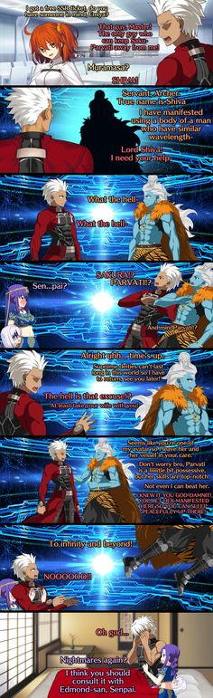 Welcome to /r/grandorder, the central hub for Fate/Grand Order and all things related to the Fate franchise. Come join the hundreds of thousands. Video Games Funny, Funny Games, Cute Comics, Funny Comics, Archer Funny, Fate Archer, Shirou Emiya, Anime Stories, Fate Stay Night Anime