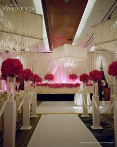 Wedding ceremony décor/ red & white/ draping / <3