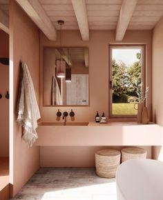 3 idées pour une déco en gris et rose dans la salle de bain | My Blog Deco Earthy Bathroom, Bathroom Colors, Bathroom Styling, Bathroom Interior Design, Kitchen Interior, Bathroom Ideas, Colorful Bathroom, Bathroom Pink, Interior Office