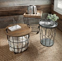 Product Details Industrial Wire Crate Accent Table Wondering where to keep all those extra blankets? Our wire crate accent tables have the storage and function you need! They're a smart way to cut the clutter. Wire Crate, Living Room Decor, Bedroom Decor, Living Room Side Tables, Diy End Tables, Metal End Tables, Home Accents, Diy Furniture, Diy Home Decor
