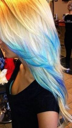 55 Ideas For Hair Blue Ombre Blonde Tips - All For Hair Color Trending Blonde And Blue Hair, Blue Purple Hair, Ombre Blond, Ombre Hair Color, Blonde Color, Hair Colors, Teal Blue, Blonde Shades, Dyed Tips