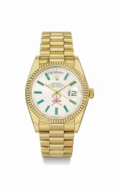 Rolex. A rare and very attractive 18k gold and emerald-set automatic wristwatch with day, date, and bracelet, made for the Sultanat of Oman. Manufactured in 1979 #ChristiesWatches