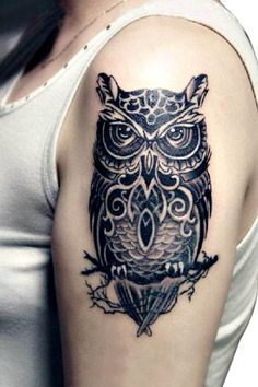 Large Realistic Black OWL Temporary Tattoo Body Art