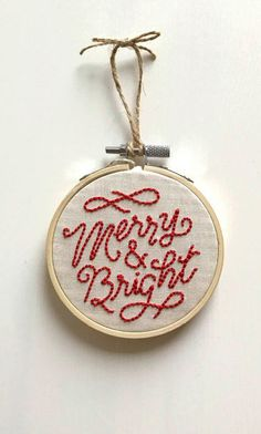 Merry & Bright Embroidered Ornament