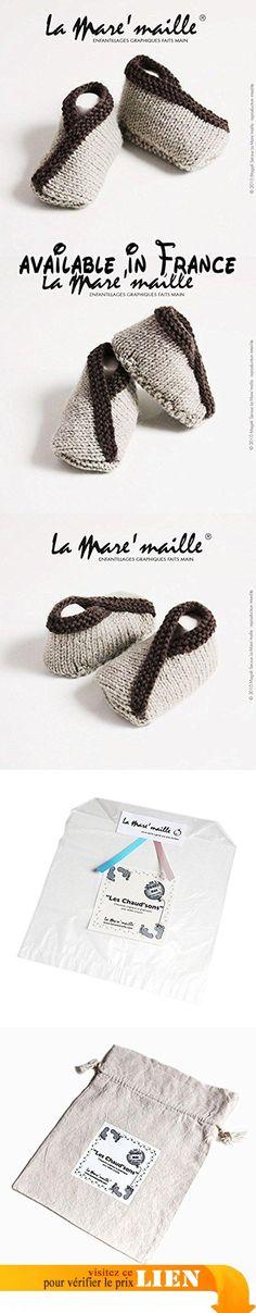 Chaussons bébé laine marron clair et marron foncé tricotés main La Mare'maille.  #Guild Product #GUILD_BABY