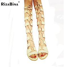 Sandals Summer Fashion Brand Women Gladiator Sandals Summer Footwear Casual Fashion Sexy Cutout Lace-Up Knee High Sandals Flat Shoes Size 35-39 - There is nothing more comfortable and cool to wear on your feet during the heat season than some flat sandals.