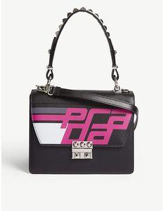 Prada Leather Elektra handbag - Black Fuschia - Crafted from smooth leather  in a boxy 033e54f7ead7d
