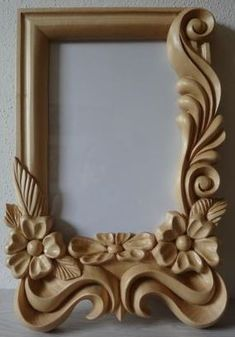 Wood Carving Designs, Wood Carving Art, Thermocol Craft, Framed Tattoo, Baroque Decor, Cnc Wood, Wood Framed Mirror, Bead Art, Wood Crafts