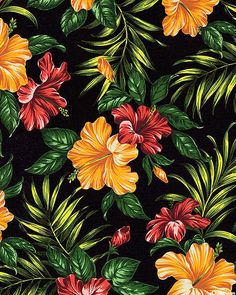 Hibiscus Retreat - Tropical Panache - Black - BARKCLOTH