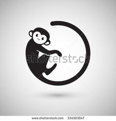 Cute monkey logo in a shape of a circle, New Year 2016, vector illustration logo design - stock vector