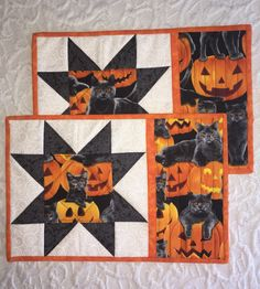Halloween Mug Rugs - Mini Quilts - Place Mats - Candle Mats - Black - Orange - Black Cat - Pumpkin- Sawtooth Star - Set of 2 by KeriQuilts on Etsy