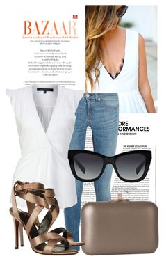 """""""V-neck white top"""" by ivanoe ❤ liked on Polyvore featuring rag & bone, French Connection, J. Furmani, Lanvin and Dolce&Gabbana"""