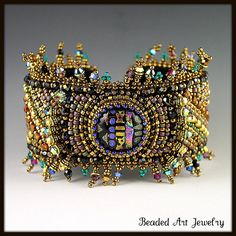 Bead Embroidered Bracelet by Beaded Art Jewelry