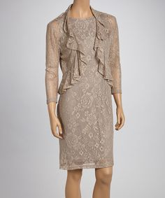 Take a look at this Gold Lace Ruffle Bolero & Shift Dress - Women by Jessica Howard on #zulily today!