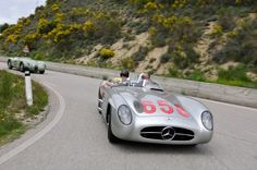 Mille Miglia 2012, Mercedes-Benz 300 SLR (W 196 S, 1955) with Jochen Mass at the wheel. Original car of Juan Manuel Fangio at the Mille Miglia 1955.