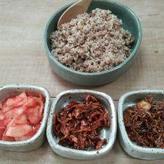 보리밥과 무우말랭이 멸치볶음 노각무침
