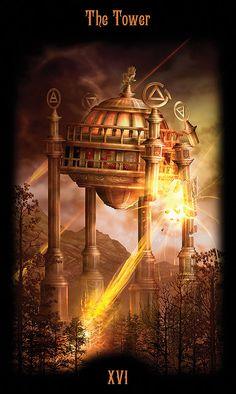 XVI - La tour - Legacy of the Divine Tarot par Ciro Marchetti Vampires, The Tower Tarot, Pet Psychic, Divine Tarot, Tarot Significado, Tarot Major Arcana, Tarot Card Meanings, Tarot Readers, Tarot Decks
