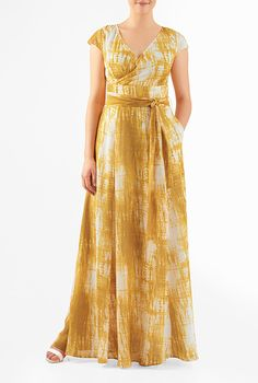 I <3 this Tie-and-dye georgette surplice maxi dress from eShakti