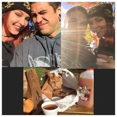 Blakes Apple Orchard with my babe @heatherblystone  Dozen and half donuts cider and some fucking pie #cider #apples #donutsbitch #pie #coupleshit #howwedo #iloveyou #babeinahat #suninmyface #raysonme #blakesappleorchard #orchard #saturday #appleday