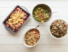 Here's what we ate for #lunchbunch today: End-of-Summer Salads and Blueberry Peach Cobbler, Wholeliving.com