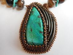 Chrysocolla Beaded Pendant with Tubing Accents and Agate Necklace