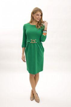 Elizabeth McKay Pleated Dress GREEN