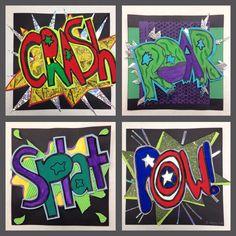 Onamonopeias, Pop Art and Roy Lichtenstein - 6th grade collages.  www.beyondroygbiv.blogspot.com