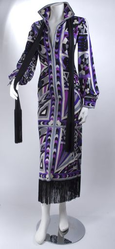 1960's Emilio Pucci Dress with Black Fringes and Matching Scarf.