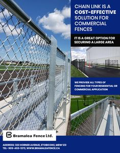 #ChainLinkFence is a cost-effective solution for commercial properties, industrial plots & sports facilities. It is a great option for securing a large area. So if you want to Secure your property with a custom #ChainLink #Fence in #Oakville #Toronto #Mississauga #Brampton and #Etobicoke then contact #BramaleaFenceLtd. today. Text OR Call us: 905-453-1373 Office Address: 322 Horner Avenue, Etobicoke, #Ontario M8W 1Z3 #Canada #FencingSolution #FenceContractors #CommercialFence