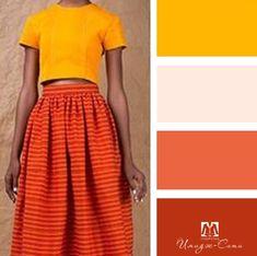Color Combinations For Clothes, Color Combos, Color Schemes, Orange Skirt Outfit, Orange Palette, Color Harmony, Warm Autumn, Fashion Images, Fashion Books