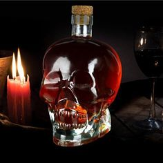 Ducomi® Rover - Skull-shaped Glass Bottle for Liqueurs, Wine, Beer and Spirits with Cork - Original Gift Idea (1 Piece, 250 ml): Amazon.co.uk: Kitchen & Home