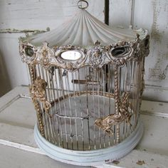 Carousal bird cage antique wood wire ornate by AnitaSperoDesign
