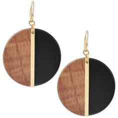 Michael Kors Gold-Tone Wood Disc Colorblock Drop Earrings (350 AED) ❤ liked on Polyvore featuring jewelry, earrings, gold, gold tone drop earrings, wood jewelry, wooden jewelry, disc earrings and goldtone jewelry