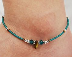Anklet, Ankle Bracelet, Southwest Anklet Boho Anklet Turquoise Blue Anklet Brown, Western Anklet, Beaded Anklet, Foot Jewelry, Ankle Jewelry