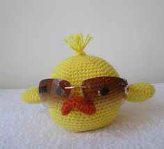 Eyeglass holder crocheted baby duck by CoralsChicBoutique on Etsy