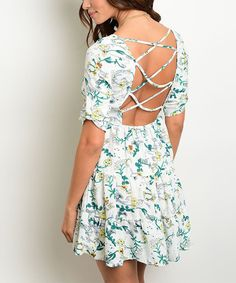 Look at this #zulilyfind! Forever Lily White & Green Floral Strappy-Back Shift Dress by Forever Lily #zulilyfinds